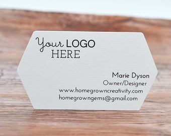 70 - Business Cards Pointed Side Die Cut - Customized with your Logo and Text | DS0124
