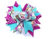 Boutique Frozen Anna Elsa Bottle Cap Hair Bow Clip