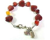 Carnelian Bracelet - Ladies Gemstone Bracelet - Hearts of Stone Chakra Bracelet - B2015-05