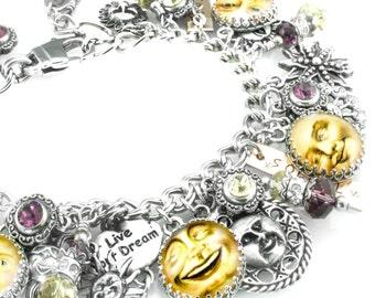 Sun Charm Bracelet, Sun Jewelry, Yellow Bracelet, Yellow Sun, Sunny Bracelet, Vintage Sun Images