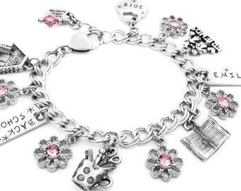 Back To School, Girls Jewelry, Child's Personalized Bracelet, Charm Bracelet, Personalized Child's Birthstone, Kids Jewelry