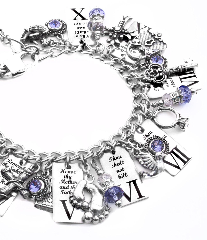 Religious Charm Bracelets: Ten Commandments Bracelet Religious Bracelet By
