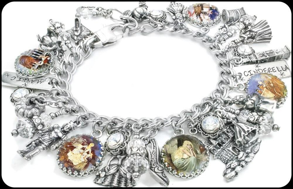 silver charm bracelet jewelry cinderella fairytale