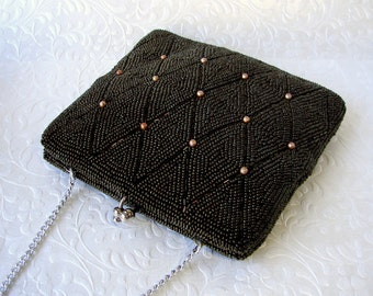 Vintage Brown Beaded Purse Small Bronze Artel Montreal Handbag Carnival Bugle Bead Amber Pearl Clutch Diamond Pattern Formal Evening Bag