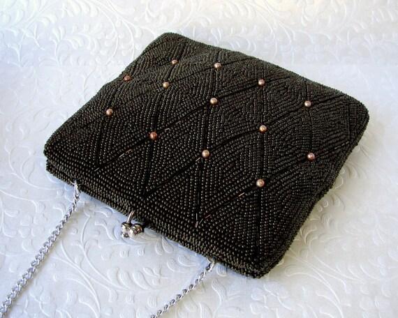 Vintage Brown Beaded Purse Small Bronze Artel Montreal Handbag Carnival Bugle Bead Amber Pearl Clutch Diamond Pattern Formal Evening Bag