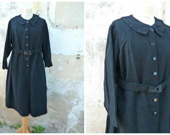 Vintage 1930/1940 French black wool belted dress size L
