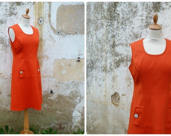 Vintage 1960/60s French orange jersey mod mini dress / size S