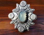 Silver Aqua Blue Chalcedony Flower Ring with Textured Details, Statement Ring with Charcoal Finish