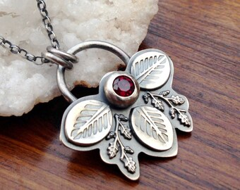 Silver Red Garnet Pendant Necklace, Handmade Gemstone Necklace, Silver Birthstone Pendant