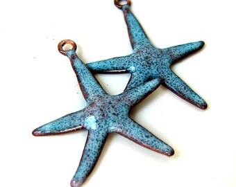 Rustic Blue Enamel Starfish Brass Charms