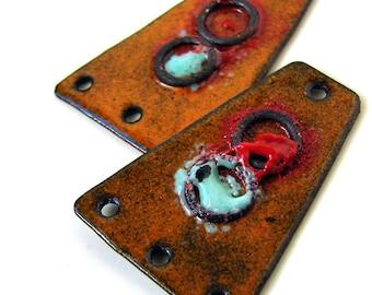Rustic Orange Enamel Copper Earring Dangle Connectors