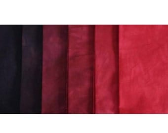 Black Cherry Shades - hand dyed Fabric - 6 pc Fat Quarter Gradation Bundle - Tuscan Rose MRBK561