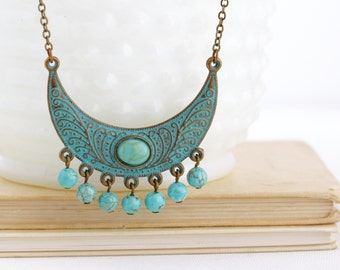 Boho Jewelry - Ethnic Necklace - Tribal Necklace - Bohemian Necklace - Gypsy Jewelry - Verdigris Necklace - Turquoise Necklace