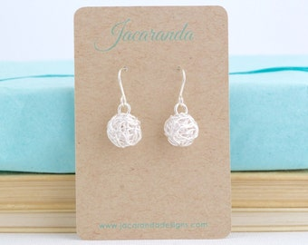 Ball of Yarn Earrings, Sterling Silver, Gift for Knitter, Knitting Earrings, Sterling Silver Yarn Earrings, Ball of Wool