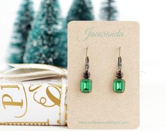 Emerald Green - Drop Earrings - Emerald Earrings - Rhinestone Earrings - Emerald Prom Earrings - Leverback Earrings - Small Green Earrings