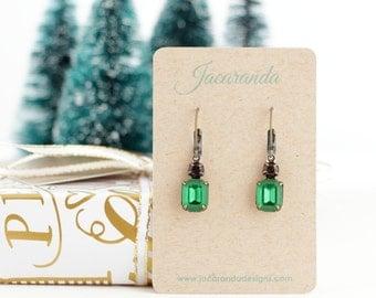 Gift For Her, Emerald Green Earrings, Gift For Her, Emerald Green Jewel Earrings, Black and Green Rhinestone Earrings, Emerald Prom Earrings