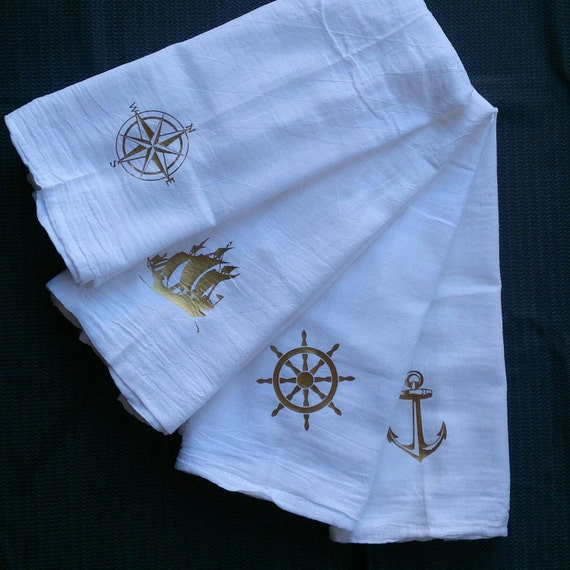 Beer Themed Towels: Nautical Themed Kitchen Towels Bar Towels Tea Towels Gold