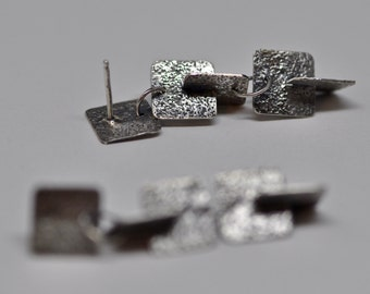 Square Right Angle Earrings recycled sterling silver