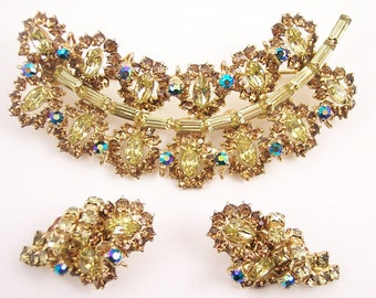 "Large 3""  Rhinestone Brooch Set"
