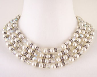 Vintage Pearl Crystal Choker Necklace
