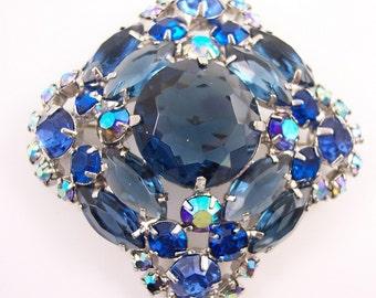 Vintage Chunky Blue Rhinestone Brooch
