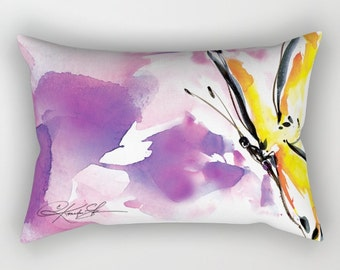 Yellow Butterfly Pillow, Abstract Painting, Home Decor Rectangular, Decorative, Contemporary, Watercolor, Original Kathy Morton Stanion EBSQ