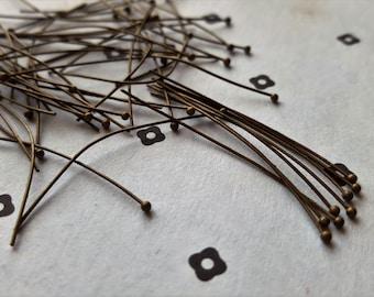 150 40mm Antiqued Bronze Ball Head pins