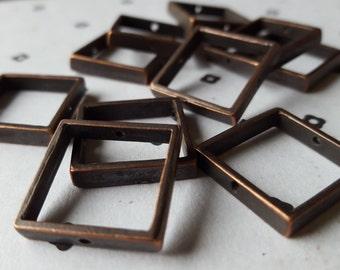 Antiqued Copper Square Link Connector (10)