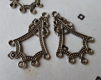 Silver Plated Chandelier earring connector 4 (2 pairs)