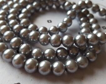 Grey 8mm faux pearls (50)