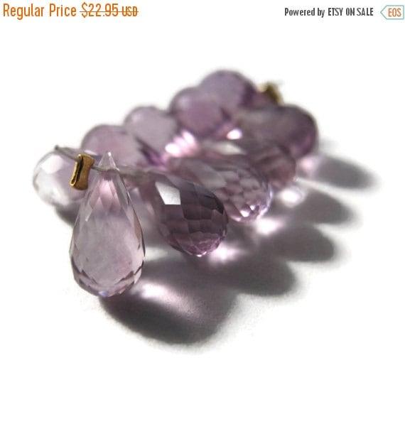 HOT SALE - Ten Amethyst Beads, Pink Amethyst Gemstones, 9x5mm-11x6mm, 10 Light Purple Stones for Making Jewelry (Luxe-Am2b)