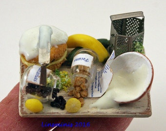 12th scale miniature **Icing a Courgette Cake**