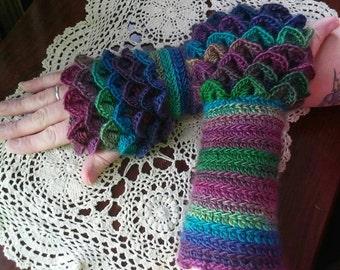 Dragon gloves, crocodile stitch, crochet arm warmers, fingerless gloves, crocheted Dragon scale gloves, handmade women's green, purple, knit