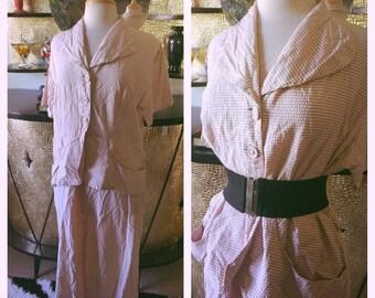 SALE Vintage 1940s Dress stripe pink gray XL 2XL plus 40s 1950s