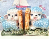 VERY RARE Vintage Antiques Little Lamb Sheep and Bamboo Bookends Salt and Pepper Shakers Collectibles or Cake Toppers