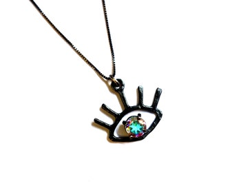 Black Silver and Prism Topaz Eye Necklace