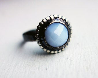 Handmade Sterling Silver Rose Cut Chalcedony Ring