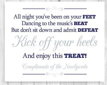 Printable 8x10 Kick Off Your Heels Navy Blue and Gray/Silver Wedding Flip Flop Basket Bucket Digital Sign - Instant Download