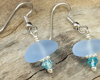 Sea Glass Earrings Cornflower Blue Sea Glass Earrings Sea Glass Jewelry E-169