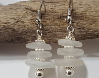 Sterling Silver Sea Glass Earrings Sea Glass Jewelry E-146
