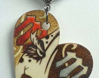 Marilyn Manson Personal Jesus MM wood burned necklace