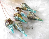 1 Pair or 3Pairs Crusty Rustic Teal Green Raku Pod Head Pins Organic Earthy Handmade lampwork glass headpins by Beadfairy Lampwork