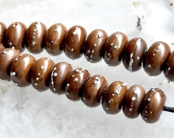 10 Silvered Chocolate Rounds Shiny Brown Spacer Lampwork Beads Fine Silver glass beads by Beadfairy Lampwork, SRA