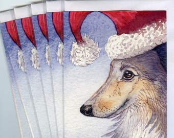 6 x Sheltie dog Christmas holiday cards Shetland sheepdog Xmas season's greetings Santa's hat from Susan Alison watercolor painting