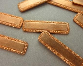 4 Brass Logo Tags - Ornate - Label or Frame - ID Bracelet