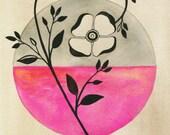 Flower watercolor painting archival art print neon pink beige black wall art 8x10 11x14 'Vintage Rose'