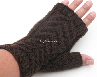 Women's Fingerless Mitts, Wool Mitts, Cable Knit Mitts