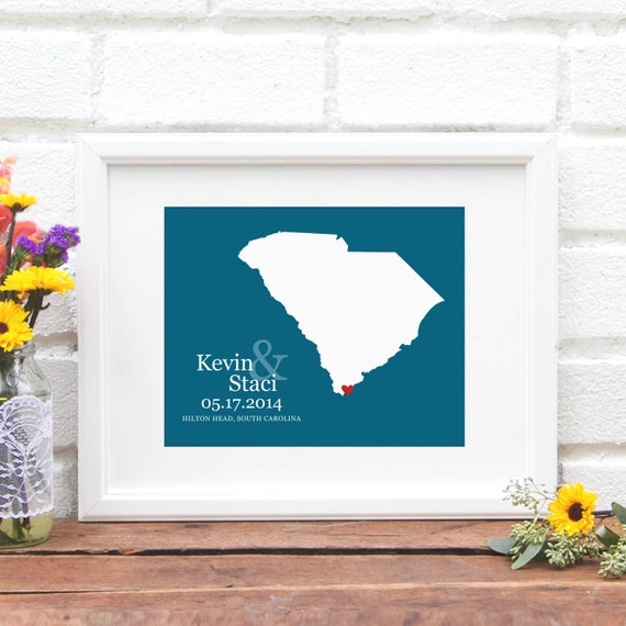 Wedding Gift, South Carolina State Map Art Print, Custom Wedding Gift, Bridal Shower Gift, Southern Bride, Shower Gift - 8x10