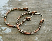 Sterling Silver wrapped copper hoops - copper and silver hoop earrings