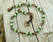 Aventurine stone beads wire wrapped bracelet with a bear hug heart - earthy stone beads and antiqued copper bracelet